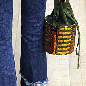 NWT Carolina Wong Copper Green Bucket Bag Eco